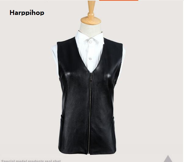 Harppihop Brand Genuine Leather Vest Womens Winter Sleeveless Jackets Warm Waistcoat Sheepskin Black Cotton Padded Suede Vest