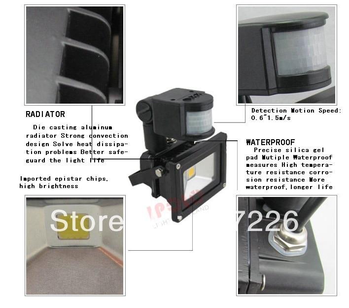 ФОТО Promotion PIR Motion Sensor LED Flood light Advertising lamp AC85-265V IP65 20W LED Floodlight detective Sensor lamp