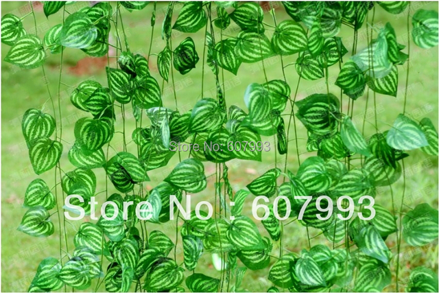 Artificial Watermelon Leaf Silk Ivy Fake Flower Fabric Faux Vine Home House  Garden Decoration Vine 60pcs