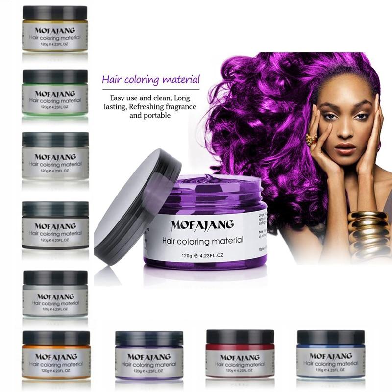 Mofajang 9 Colors Disposable Hair Color Wax One-time Molding Paste Dye Sliver Grandma Green Hair Dye Wax Mud Cream 120g