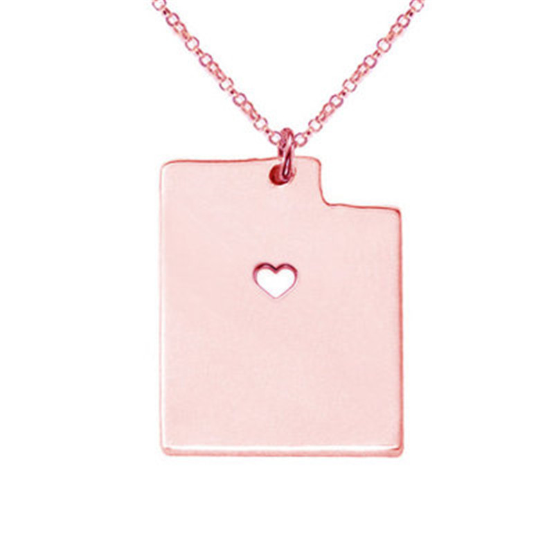 New Stainless Steel Utah Pendant Fashion Personality United States Map Necklace European and American Hot Tag Ornaments