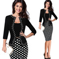 Free shippingWomens Autumn Retro Faux Jacket One-Piece Polka Dot Contrast Patchwork Wear To Work Office Business Sheath Dress