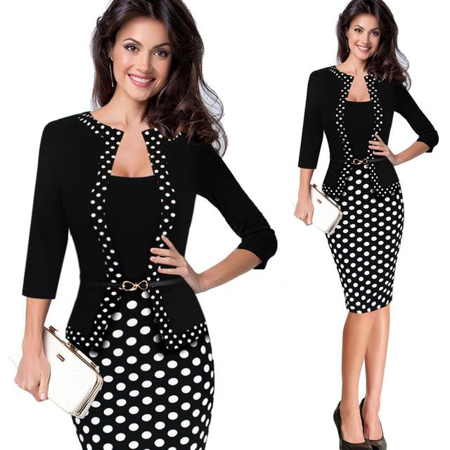 Shippingwomens gratis otoño retro faux de la chaqueta de una sola pieza del punto de polca de contraste patchwork usar para trabajar oficina vaina negocios dress