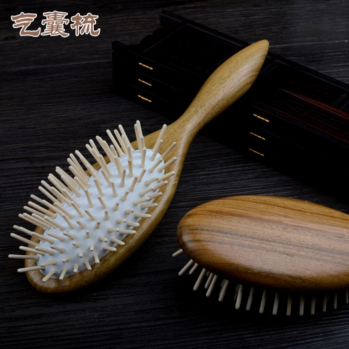 Authentic natural green ebony hairbrush comb airbag massage comb anti-static comb massage cushion large plate comb