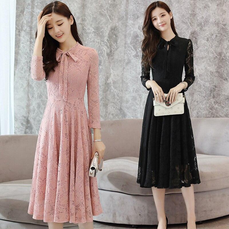 2019 Autumn Winter New Plus Size Vintage Lace Black Midi Dresses Women Bodycon Pink Beach Dress Party White Long Sleeve Vestidos