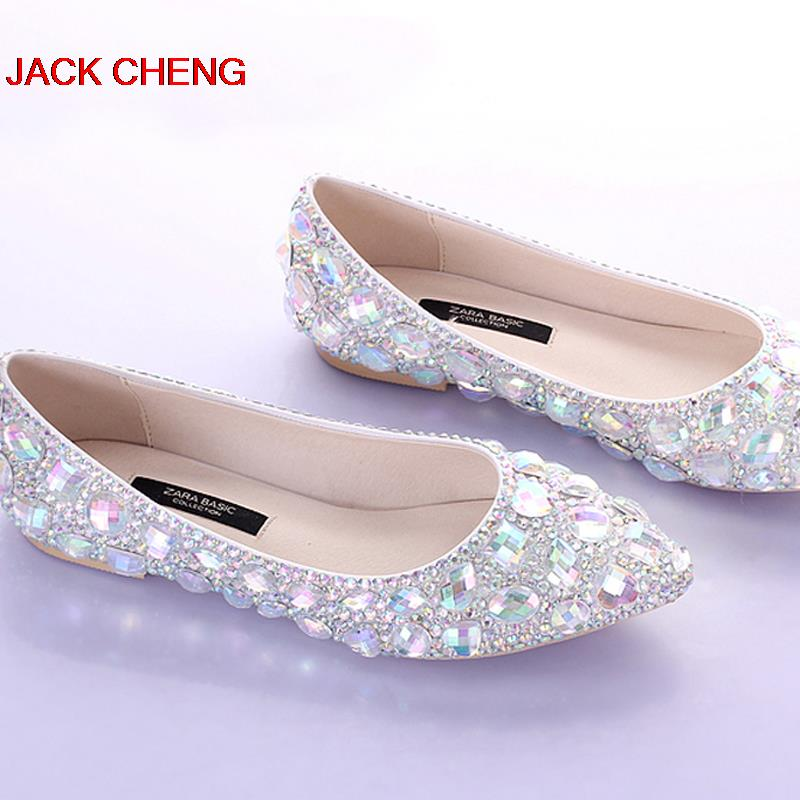 Silver Crystal Flat Heels Wedding Shoes Pointed Toe  Bridal Dress Shoes Dancing Flats Performance Show Women Dress Shoes pu pointed toe flats with eyelet strap