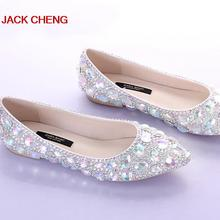 Silver Crystal Flat Heels Wedding Shoes Pointed Toe Bridal Dress Shoes Dancing Flats Performance Show Women Dress Shoes