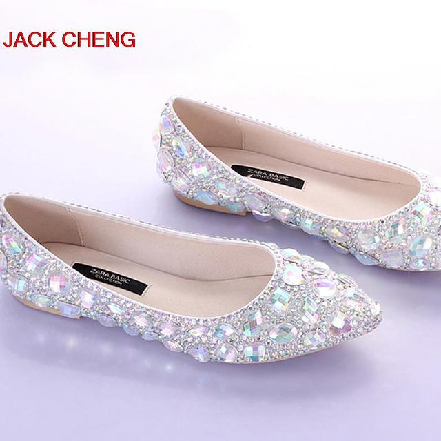 Silver crystal flat heels wedding shoes pointed toe bridal dress silver crystal flat heels wedding shoes pointed toe bridal dress shoes dancing flats performance show women junglespirit Image collections