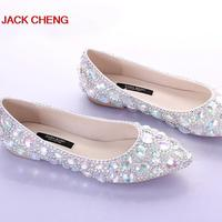 Silver Crystal Flat Heels Wedding Shoes Pointed Toe Bridal Dress Shoes Dancing Flats Performance Show Women