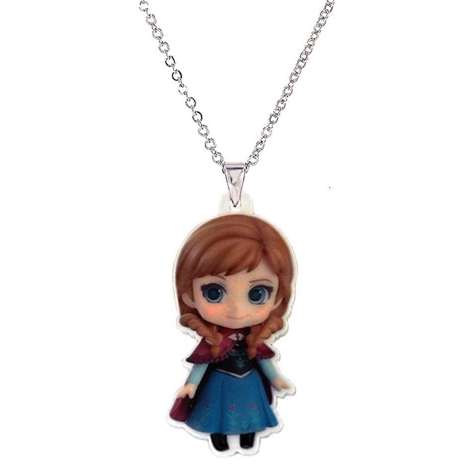 Cartoon Princess Big Plastic Charm Pendant Necklace For Girls Silver Chain Flatback Planar Resin Children's Necklaces & Pendants
