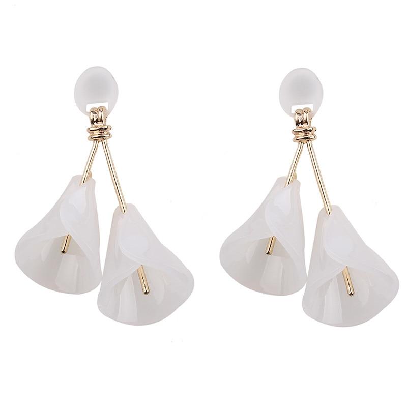 Girlgo Hot Sale Trendy Pinky Color Flower Drop Dangle Earrings Wholesale Charm Statement Earrings For Women Cute Fashion Jewelry