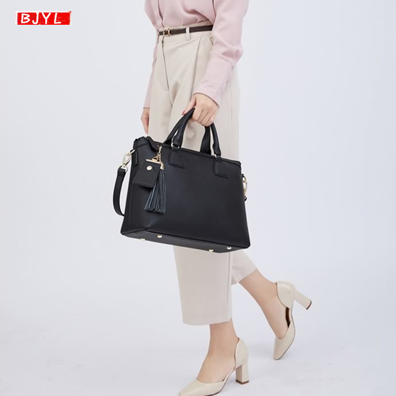 New Genuine Leather Women Briefcase Large Capacity Computer Handbag Business Shoulder Bag Ladies Laptop Messenger Crossbody Bags