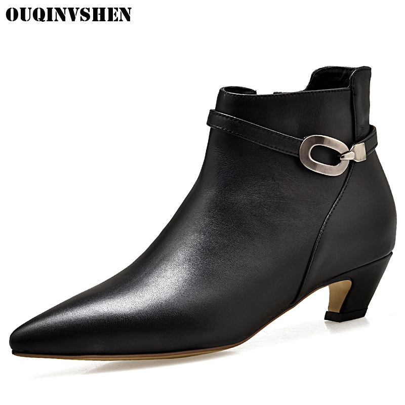 OUQINVSHEN Pointed Toe Spike Heels Mid Heels Women Boots Casual Fashion Winter Buckle Ankle Boots 2017 New Zipper Women's Boots mizuno men s 9 spike franchise 7 mid molded baseball cleat