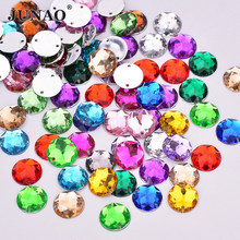 JUNAO 8 10 12 14 16 mm Sewing Mix Color Round Rhinestones Flat Back Acrylic  Gems ca4f3417f7fd