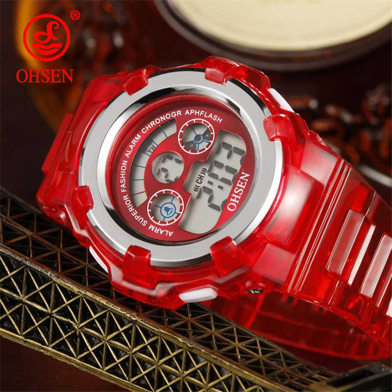 Top Student Digital Watch Children's LCD Back light OHSEN Brand Waterproof Kids Sport Watch Quartz Fashion Wristwatch Clock Gift