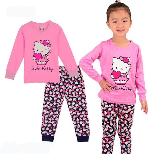 7338a25a3 Cotton100 % de alta qualidade Primavera outono crianças pijamas meninos  meninas princesa malha sleepwear conjuntos de roupas de bebê dos desenhos  animados ...