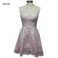 JIERUIZE Lighr Różowe Koronki Aplikacje Krótki Prom Dresses-Line Wysoka Neck Krótkie Koktajlu Sukienek abendkleider