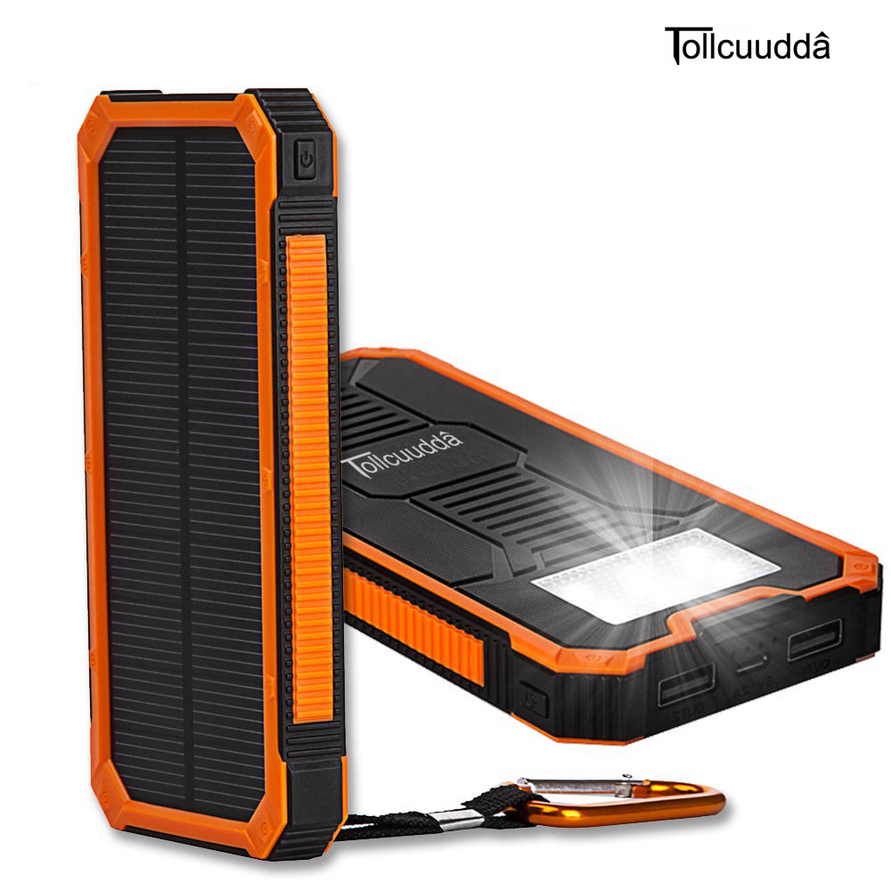 bilder für Tollcuudda 10000 mAH Portable Handy-ladegerät Externe Batterie Solar Power Bank Doppel Usb-schnittstellen Grundwasserdicht