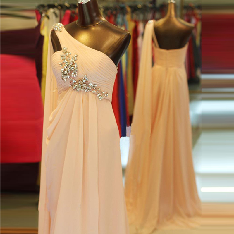 A line One Shoulder Sleeveless Prom gown robe de soiree vestido de festa longo abendkleider Pink Chiffon Long   bridesmaid     dresses