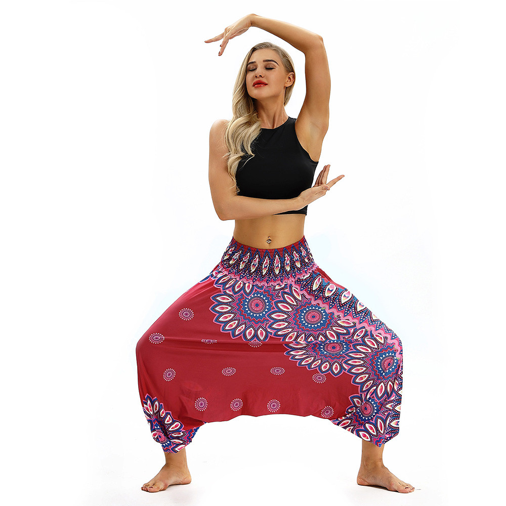 Women Men Pants Casual Woman High Waist Wide Leg Harem Trousers Baggy Boho Loose Aladdin Festival Hippy Jumpsuit Print Lady pant 109