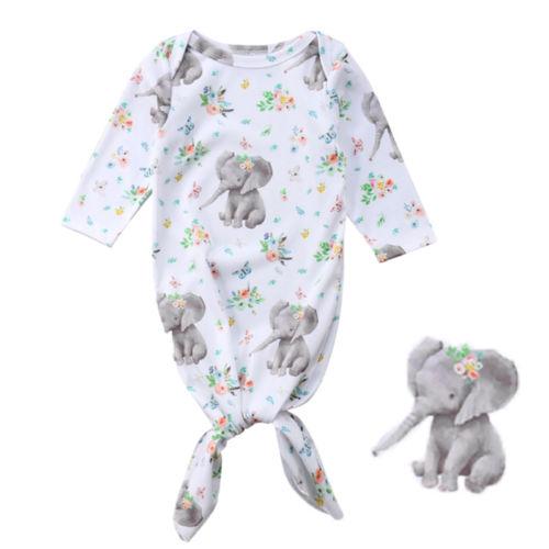 Beducht Mooie Bloemen Pasgeboren Baby Meisje Slaapzakken Deken Lange Mouw Inbakeren Wrap Outfit Cartoon Olifant Print Leuke Slaapzakken