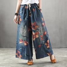 Summer New Nation Style Floral Print Vintage Denim Wide Leg Pants Woman Elastic Waist Casual Loose Plus Size Baggy Jeans Pants summer national style embroidered vintage denim wide leg pants elastic waist woman casual loose pocket jeans ankle length pants
