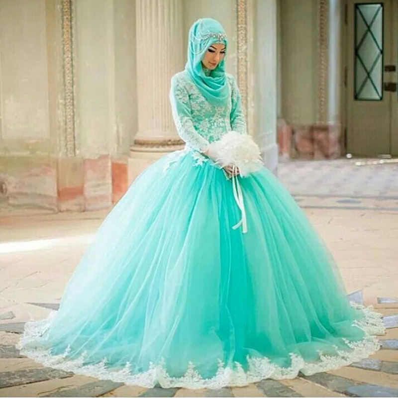 2016 Muslim Wedding Dresses Mint Green Bridal Dress With High Neckline White  Lace Appliques Ball Gown Hochzeitskleid Long  In Wedding Dresses From  Weddings ...