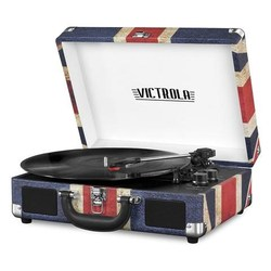 Victrola Bluetooth Portable Suitcase Record player with Turntable de 3 velocities, Flag United Kingdom