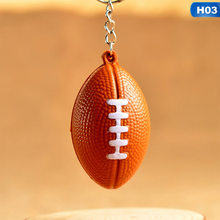 New Fashion Sports Metal PU Keychain Car Key Chain Key Ring Football Basketball Golf Ball Pendant Keyring For Wholesale(China)