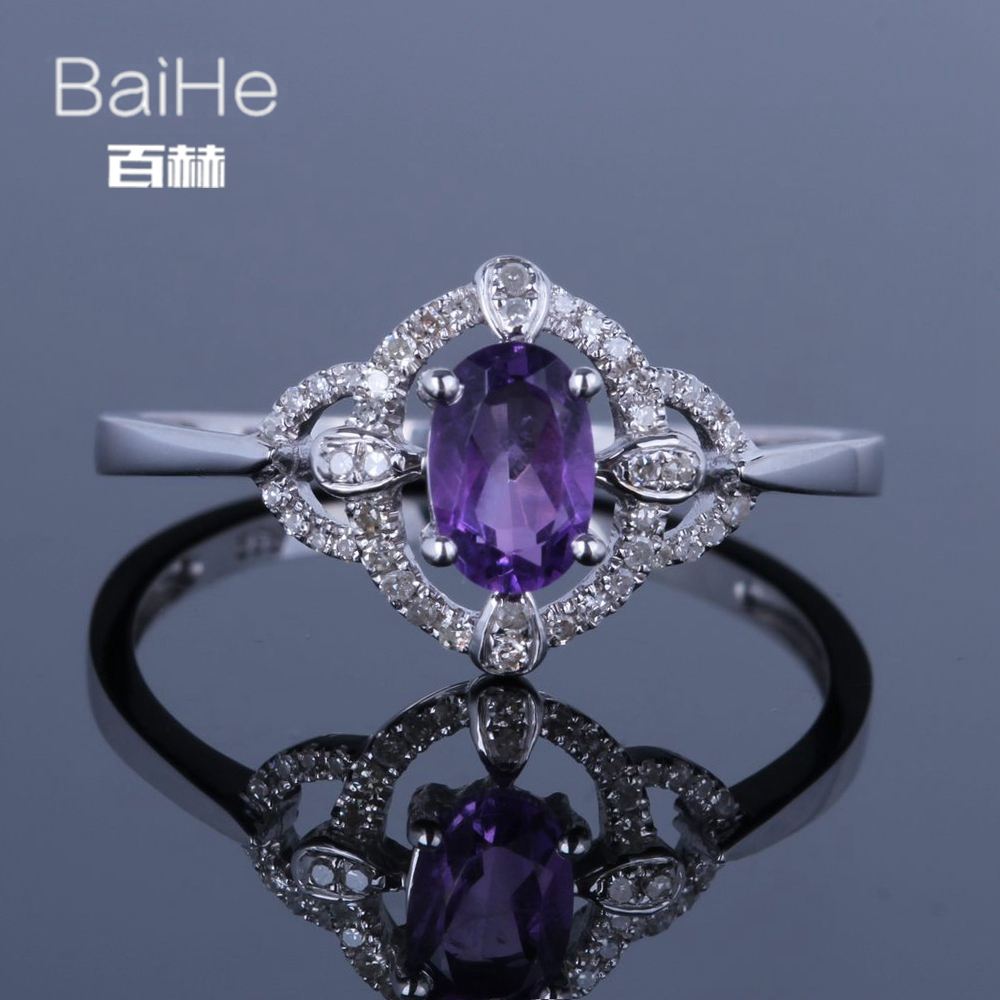 BAIHE Sterling Silver 925 0.5CT Certified Oval Cut Flawless Genuine Natural Amethyst Wedding Women Trendy Elegant unique RingBAIHE Sterling Silver 925 0.5CT Certified Oval Cut Flawless Genuine Natural Amethyst Wedding Women Trendy Elegant unique Ring