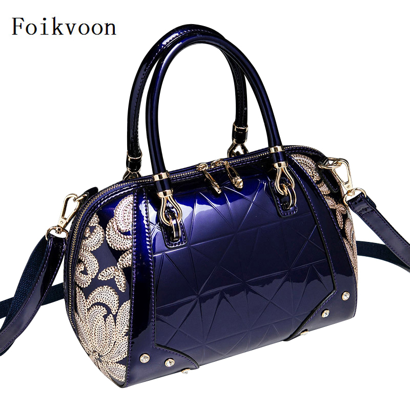 Foikvoon 2018 Hot Sale Handbag Patent Leather Temperament Women Shoulder Bags Embroidered Elegant Female Fashion Bags free shipping 2016 hot sale national trend bags one shoulder cross body women s canvas handbag embroidered vintage elegant bag