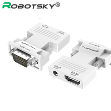 Robotsky HDMI to VGA Adapter with Audio Female to Female AV Converter Connector for XBOX360 PS3 TV Box Projector