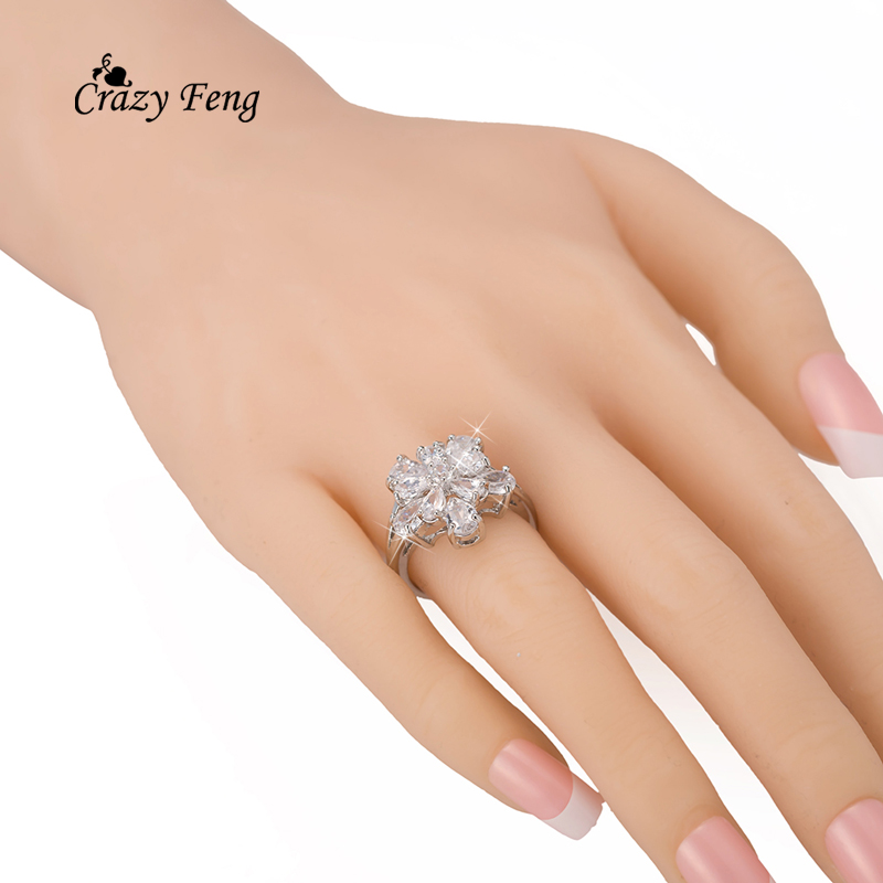 New Arrival Engagement Rings For Women Silver Color Jewelry Cz Crystal Zircon Flower Bague Size 7.5 Finger Ringen Gift
