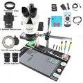 30MP 2 K камера микроскопа HDMI 1/2 адаптер объектива Simul-focal Тринокулярный стереомикроскоп 3,5-90X с большой алюминиевой верстаком