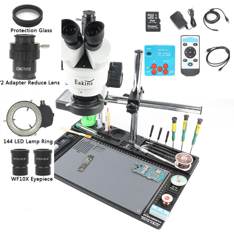 30MP 2 k HDMI Microscope Caméra 1/2 lentille adaptateur Simul-focal Trinoculaire Stéréo Microscope 3.5-90X avec grand en aluminium Workbench