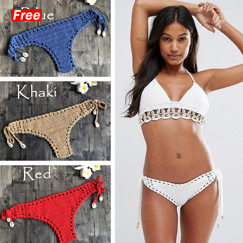 2019 Women Sport Sexy Bikini Thong Handmade Crochet Swimwear Bikini Bottom Hollow-out Low Waist Bathing Suit