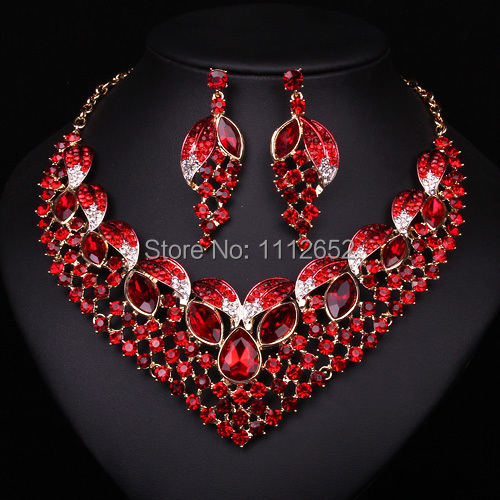 Hesiod Indian Wedding Jewelry Sets Gold Color Full Crystal: Aliexpress.com : Buy Fashion Bridal Jewelry Sets Red Color