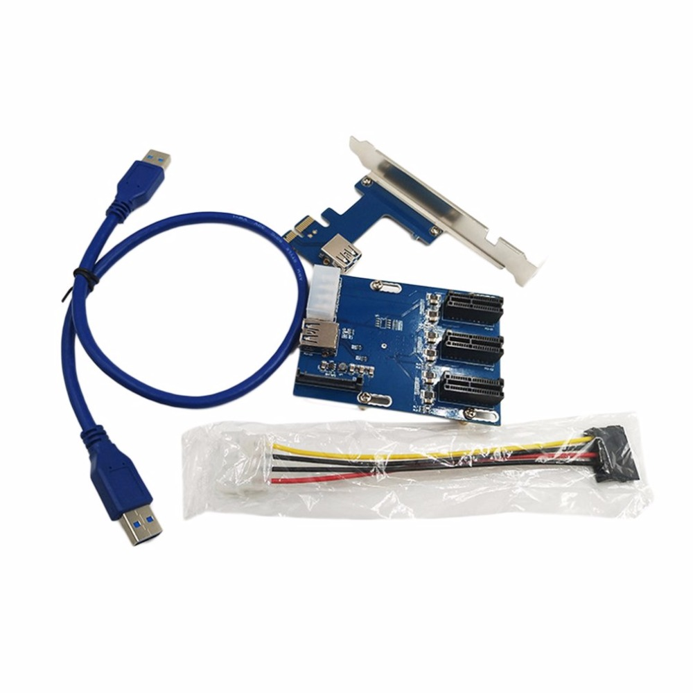 New PCI-E 1X Expansion Kit 1 to 3 Ports Switch Multiplier Hub Riser Card with USB 3.0 Cable 2 Layers PCB Board Design 2 ports rs485 422 pci card optical isolation surge protection 1053 chip
