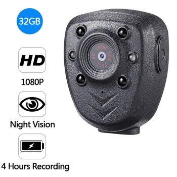 HD 1080P Police Body Lapel Worn Video Camera DVR IR Night Vision LED Light Cam 4-hour Record Digital Mini DV Recorder Voice 32G