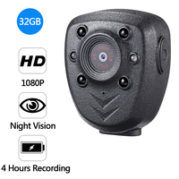 HD 1080P Police Body Lapel Worn Video Camera DVR IR Night Vision LED Light Cam 4 hour Record Digital Mini DV Recorder Voice 32G