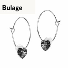купить Bulage Blue Heart Crystals From SWAROVSKI Hoop Earrings For Women Simulated Pearl Jewelry 2018 Hanging Earrings Valentine's Day в интернет-магазине