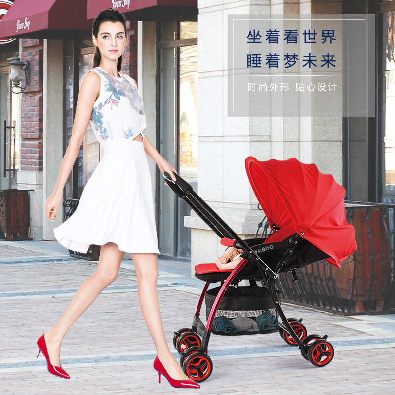 baby stroller light folding umbrella car can sit can lie ultra-light portable on the airplane light foldable baby stroller 3 in 1 cozy can sit and lie lathe umbrella car stroller carry bag 4 colour three wheels single seat