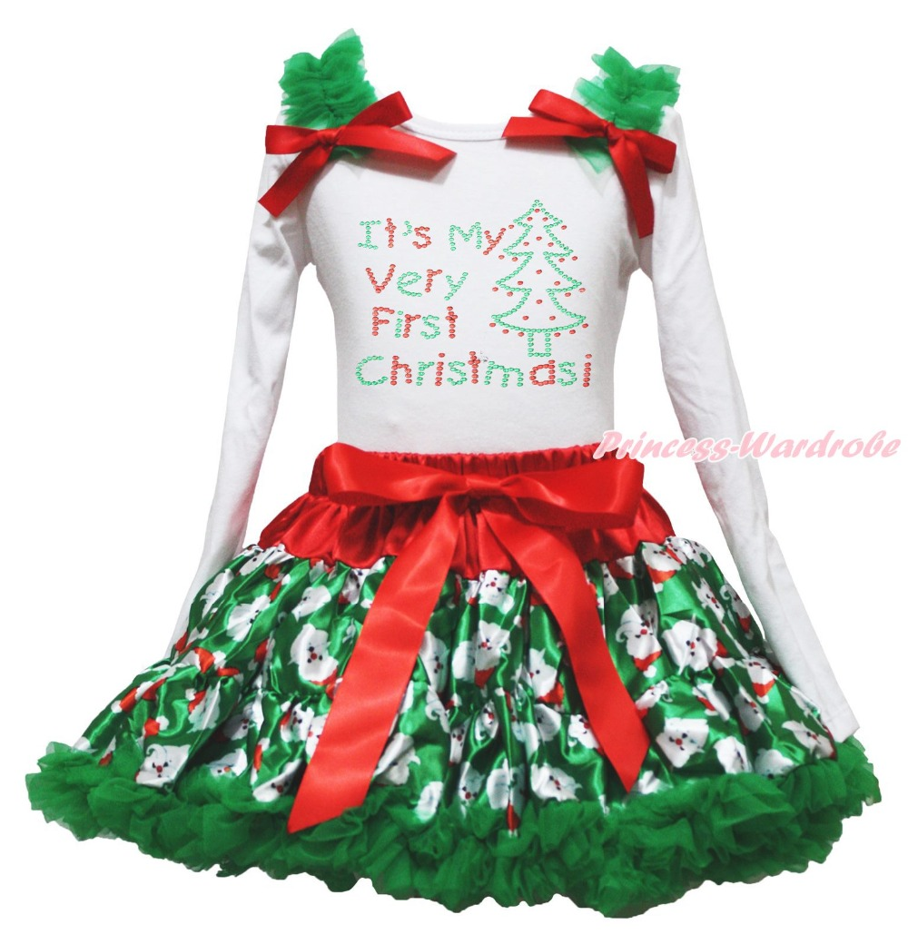 My Very First Christmas Tree White Top Santa Claus Skirt Girls Outfit Set 1-8Y my 1st christmas santa claus white top xmas dot waist girls pettiskirt set 1 8y