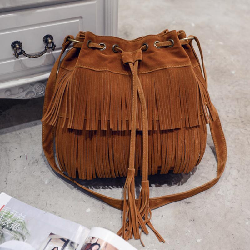 Vintage Women Messenger Bag Fringe Bag Female Crossbody Bag With Tassels Faux Suede Handbag Shoulder Bag For Ladies High Quality