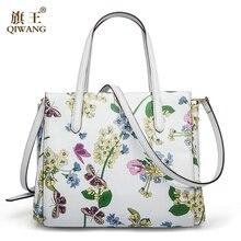 QIWANG 2017 Neue Designer Frauen Handtaschen Aus Echtem Leder Schmetterling Blume handtaschen Sommer Weiß Tasche Damen Marke Blume Geldbörse