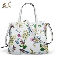 QIWANG 2017 New Designer Women Handbags Genuine Leather Butterfly Flower Hand Bags Summer White Bag Ladies
