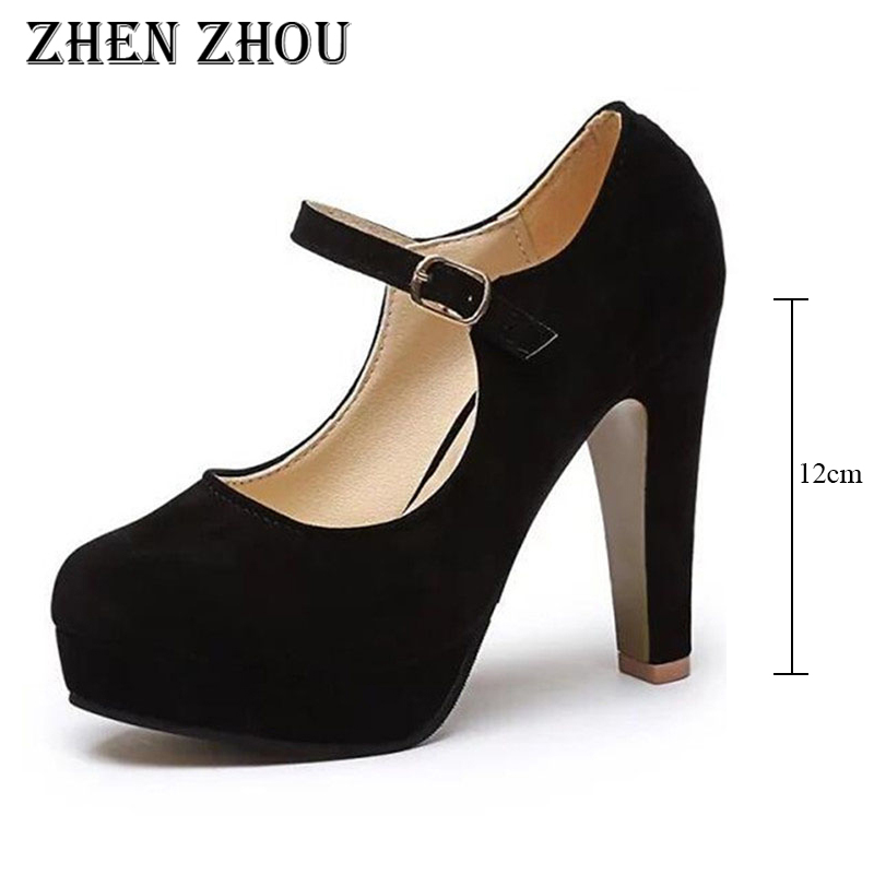 high heels pumps 12cm new2018 spring autumn Women 's shoes sexy high heels round suede shoes with thick heels sapato feminino цена 2017