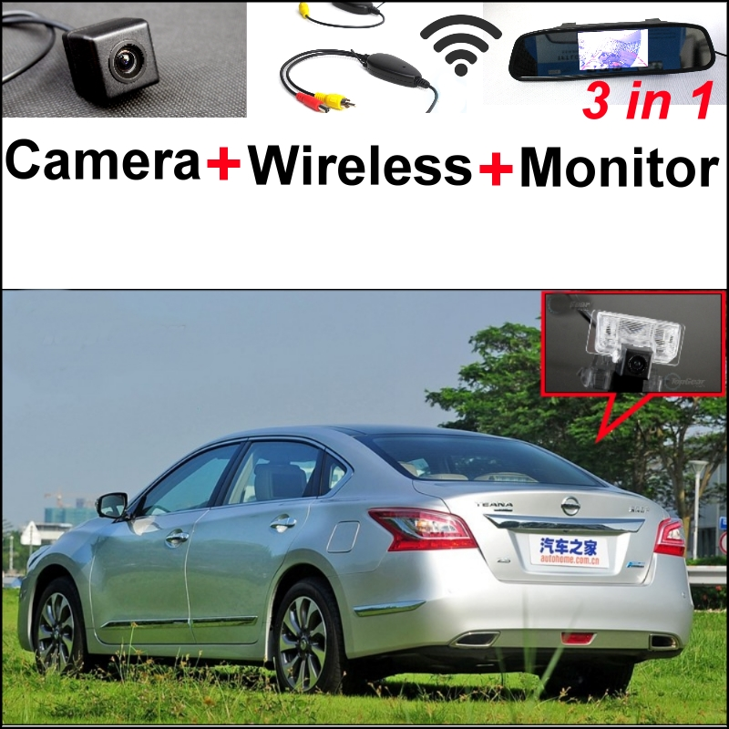 3 in1 Special Camera + Wireless Receiver + Mirror Monitor Easy DIY Backup Parking System For Nissan TEANA Altima 2013~2015 wireless pager system 433 92mhz wireless restaurant table buzzer with monitor and watch receiver 3 display 42 call button