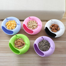 Creative Double Layers Round Shape Fruit Snack Plate Sauce Bowl Feed Food Snack Container Phone Holder For TV Lazy Dinner Plates(China)