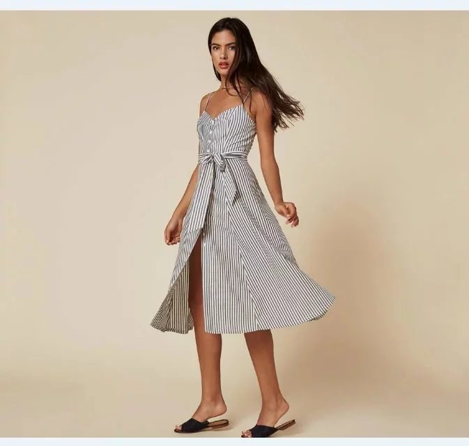 25167b1b59f 2016 Summer Woman Elegant Dress High Waist Button Slite Strappy Ukraine  Office Beach Reformation Maxi Dress Vestido De Festa-in Dresses from Women s  ...